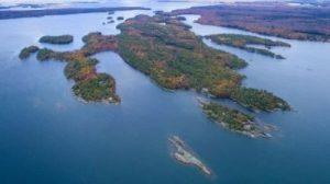 Aerial photo of Rose Island, Georgian Bay
